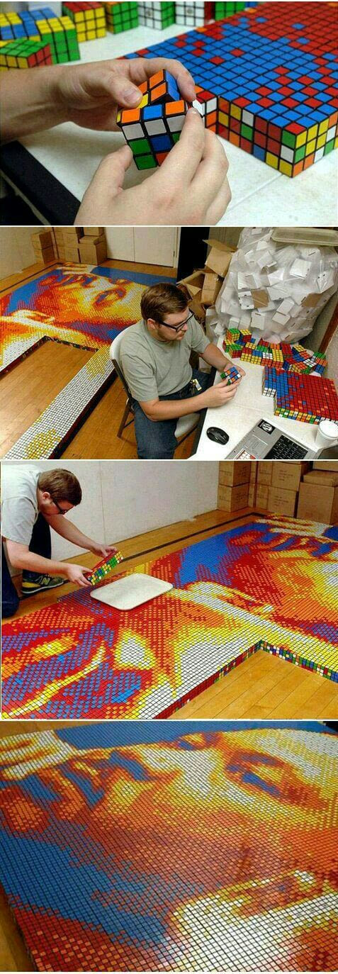 This man made a portrait of Martin Luther King using Rubiks cubes